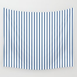 Morning Glory Blue Pin Stripe on White Wall Tapestry