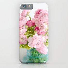 Dreamy Shabby Chic Ranunculus Peonies Roses Print - Spring Summer Garden Flowers Mason Jar iPhone Case