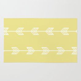 Running Arrows in White and Yellow Rug