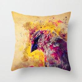 spotted madagascar fody wslsh Throw Pillow