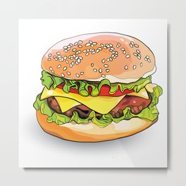 Illustration of a burger from fast food. Metal Print