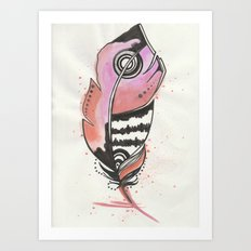 Pink and Orange Feather Art Print