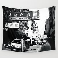 hong kong Wall Tapestries featuring Streets of Hong Kong  by Mich Li