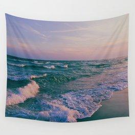 Sunset Crashing Waves Wall Tapestry