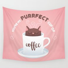 You're my Purrfect cup of Coffee Cat Wall Tapestry