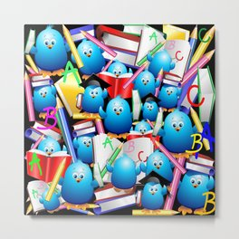 Back to School Cute Blue Birds Metal Print