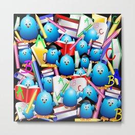 Back to School Cute Blue Birds Metal Print