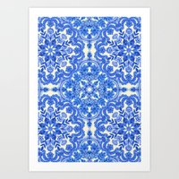 bedding Art Prints featuring Cobalt Blue & China White Folk Art Pattern by micklyn