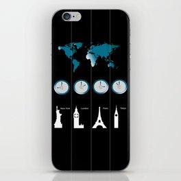 TIME ZONES. NEW YORK, LONDON, PARIS, TOKYO iPhone Skin