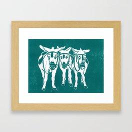 Seaside Donkeys in Turquoise Framed Art Print