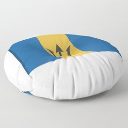 Flag of Barbados. The slit in the paper with shadows. Floor Pillow