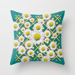 Teal Color Shasta Daisies Lime Pattern Art Abstract Throw Pillow