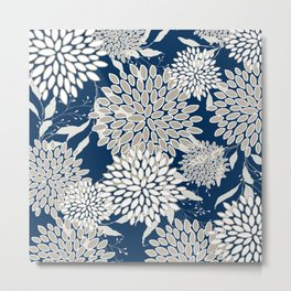 Floral Leaves and Blooms, Navy Blue, Beige, Floral Prints Metal Print