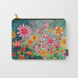 Wild flowers watercolor painting whimsical art Carry-All Pouch