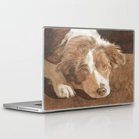 border collie Laptop & iPad Skins featuring Border Collie Puppy Wren by Yvonne Carter