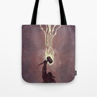 thor Tote Bags featuring Thor by Duke Dastardly