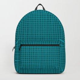 Teal Hand Drawn Grid Backpack