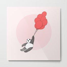 Panda Loves Balloons Metal Print