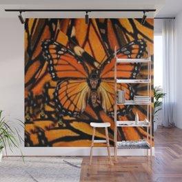 ORANGE MONARCH BUTTERFLY PATTERNED ARTWORK Wall Mural