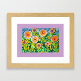 Peach Peonies in the Garden Framed Art Print