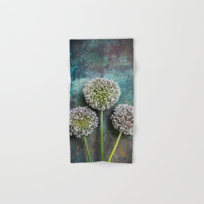 Three Allium Flowers Hand & Bath Towel