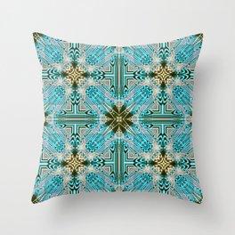 Kaleidoscope No 79 - Olivine Blue Throw Pillow