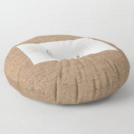 North Dakota is Home - White on Burlap Floor Pillow