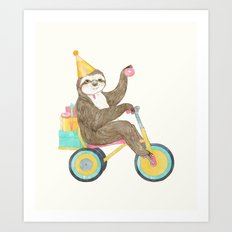 birthday sloth Art Print