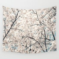 cherry blossom Wall Tapestries featuring Cherry Blossom by Neon Wildlife