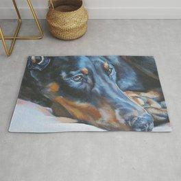 The Doberman Pinscher dog art portrait from an original painting by L.A.Shepard Rug