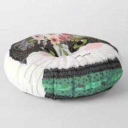 Cat with flower crown Floor Pillow
