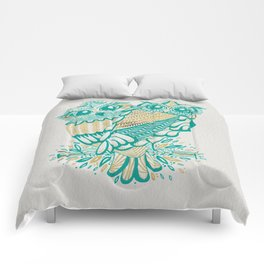 Owls – Turquoise & Gold Comforters