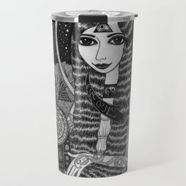 Girl in a Boat in Autumn. Travel Mug