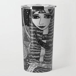 Girl in a Boat in Autumn. Travel Mug