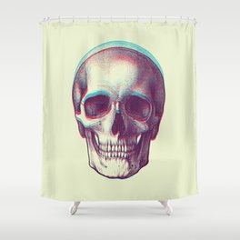 duotone vintage skull Shower Curtain