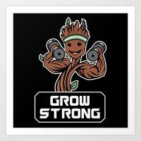 GROOT GROW STRONG GALAXY GYM FITNESS MASHUP Art Print