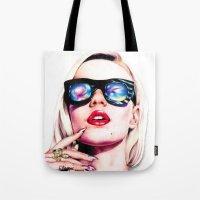 iggy azalea Tote Bags featuring Iggy Azalea Portrait by Tiffany Taimoorazy