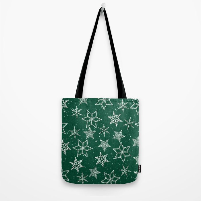 Snowflakes On Green Background Tote Bag