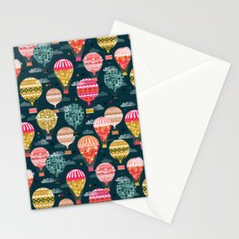 Hot Air Balloons - Retro, Vintage-inspired Print and Pattern by Andrea Lauren Stationery Cards