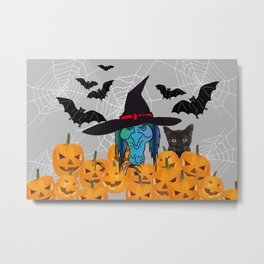 Witch bats pumpkin Halloween Metal Print