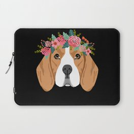 Beagle dog breed with floral crown cute dog gifts pure breed beagles Laptop Sleeve