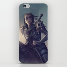 Roe sitting on a horse BLUE iPhone Skin