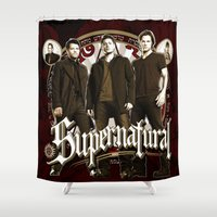 sam winchester Shower Curtains featuring Supernatural Sam, Dean Winchester Castiel, Bobby and Crowley  by Ryan Huddle House of H