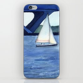 """""""Off to a journey"""" Sailboat Watercolor Painting iPhone Skin"""