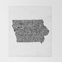 Typographic Iowa Throw Blanket