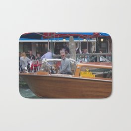 Macho Cigarette Smoking Boatman in Venice Bath Mat