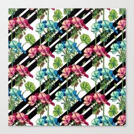 Flowers & Strips Canvas Print