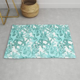 Coral and Star fish in teal blue Rug