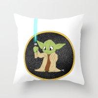 yoda Throw Pillows featuring Yoda by alittlecartoonie
