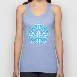 Decorative Layers of Blue Flowers Unisex Tank Top
